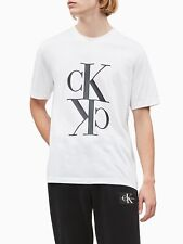 Calvin Klein White Mirrored Monogram Black Writing T-Shirt 100% Authentic, New.