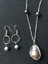 Crystal Necklace Pendant & Earrings New Handcrafted Rainbow Freshwater Pearl &