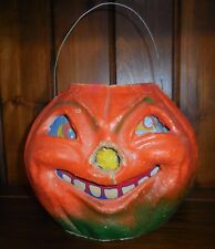 Antique Paper Mache Large Pumpkin Jack O Lantern with Wire Handle~Face Insert