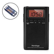 Horologe Am Fm Pocket Radio, Portable Alarm ClockRadio with Time, Alarm, Radio