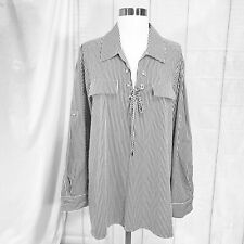Calvin Klein Womens OX Top Tunic NEW $79 Lace-Up Chest Gray White Stripe #U