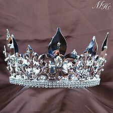 "Men's King Tiara Full Round Crown 4.25"" Imperial Medieval Pageant Party Art Deco"