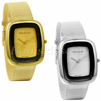 Women's Luxury Square Dial Stainless Steel Mesh Band Bracelet Quartz Wrist Watch