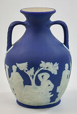 Wedgwood Portland Vase, Cobalt Blue Jasperware Cameo, 8 inches Tall