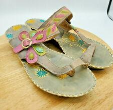 Spring Step L'Artiste Santorini Pink Sandals Floral Wedge EU40 US 9-9.5 Leather