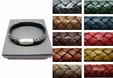 sterling silver 925 tube decor w/8mm braided Italian leather bracelet men/women