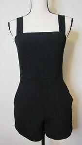 Forever 21 Women's Juniors Black Sleeveless Tank Romper Shorts W/ Pockets Size S
