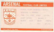 Ticket :Arsenal v France 14/2/1988 Friendly