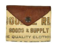Ralph Lauren RRL Vintage Canvas Leather Printed Bifold Wallet New