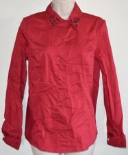 New Women's Jaclyn Smith Red Button Down Blouse Dress Shirt Top Long Sleeve sz S