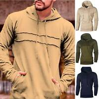 Men's Sweatshirt Hoodie Pullover Hoody Cotton Plain Design Casual Hooded Tops