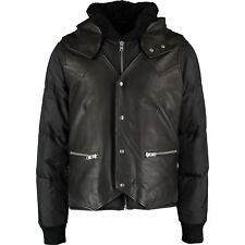 THE KOOPLES Man's Black Leather Panel Padded Jacket Large