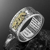 Pixiu Charms Feng Shui Amulet Wealth Lucky Open Adjustable Ring Buddhist Je H9R7