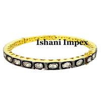 Natural Uncut Diamond Polki Gold & 925 Sterling Silver Victorian Bangle Bracelet