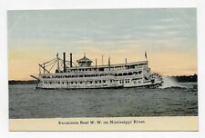 1910 Excursion Boat W. W. On Mississippi River Unposted Post Card #1670