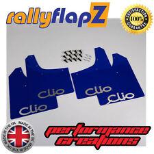 rallyflapZ RENAULT CLIO MK3 (05-12) Mud Flaps Mudflaps Blue Logo Silver 3mm PVC