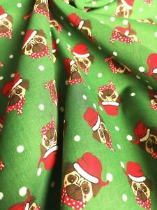 Fat Quarter Green XMAS Santa Pug DOG Fabric Material POLY COTTON Crafts Quilting