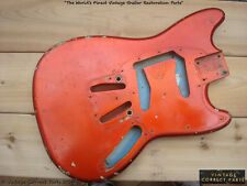 Vintage 1960's Fender Mustang Body CANDY APPLE RED over Daphne Blue PRE-CBS 1964