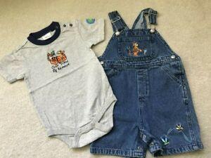Vintage Disney Store Tigger Denim Shortalls Toddler Boy 2pc Set 24 months EUC