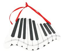 Painted Wood White Black Piano Keys Christmas Ornament Holiday Decoration