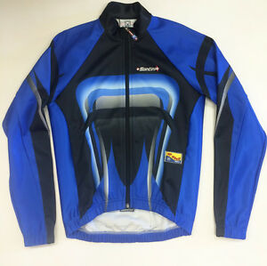 'Crab' Windproof Thermal CYCLING JACKET Windproof in Blue - made by Santini