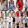 Summer Women's Mini Playsuit Romper Ladies Boho Holiday Sun Dress Beach Shorts