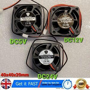 4020 DC Printer Cooling Fan 5V 12V 24V Brushless Bearing Mini Cooler 40x40x20mm