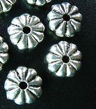 80pcs Tibetan Silver Ridged Flat Round Spacer Beads R92