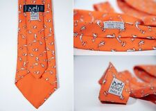 Men's Hermes Made in France Print 5390 OA Dolphins 100% Silk Tie Necktie