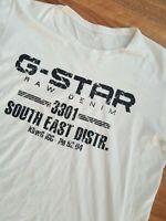 G-Star Raw Men Top Size XL White  Raw Denim 3301 T-shirt Top