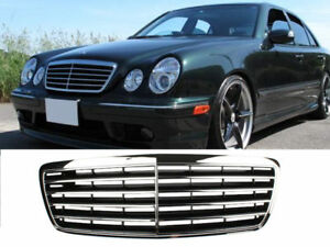Chrome + Black Front Grille For Mercedes Benz W210 E-Class E300 E320 Facelift