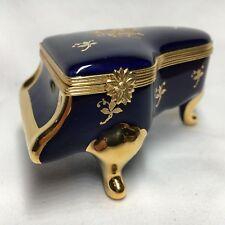 Limoges 22K Gold Hinged Trinket Box Cobalt Blue Piano Imperial France