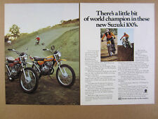 1973 Suzuki TS100 & TC100 motorcycles photo vintage print Ad