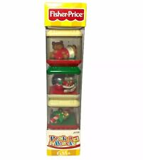 RARE Peek A Blocks Fisher Price Christmas 3 NEW Mouse Candy Cane Bear J5726
