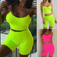 Women Crop Top Shorts Pants Set Two Piece Outfits Playsuit Casual Suits Clubwear