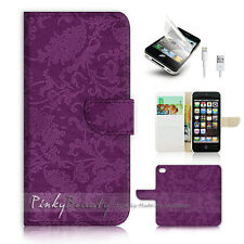 ( For iPhone 5C ) Wallet Case Cover! Purple Damask Pattern P0541