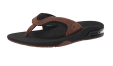 Men's Reef Fanning Black/Brown Sandals Flip Flops Size 9 Bottle Opener RF002156