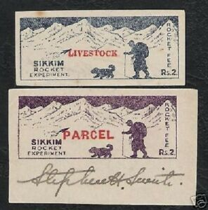 SIKKIM STATE INDIA 2 RS 1935 ROCKET MAIL LIVESTOCK PARCEL LION STEPHEN SMITH SGN