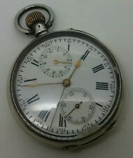 Vintage Foreign 0.935 Solid Silver Chronograph pocket watch weight 95.03 Grams