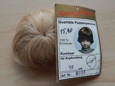 NEU GLOREX  Puppenperücke ECHTHAAR blond für KU 18 cm