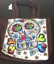 Disney Parks Skull Multi Color Love Brown And White Tote Purse Bag Hearts