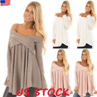 US Womens Cold Shoulder Long Sleeve Blouse Tops Ladies T-Shirt Pullover Jumper