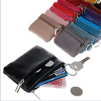 Women Men Genuine Real Leather Small Coin Card Key Ring Wallet Pouch Mini Purse