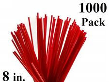 1000 Pack 8 in. Red Plastic Coffee Stirrers Straws Cocktail Sip Stir Sticks