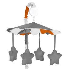 Sweet Jojo Musical Mobile For Gray And Orange Stripes Boys Baby Crib Bedding Set