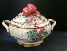 Fitz & Floyd Winter Spice Vegetable Dish With Lid 3-D Bows Fruit Pinecones Nib