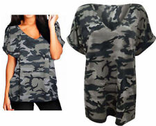 Ladies Womens  Army Camouflage Print Batwing Short Sleeve Oversized T Shirt Top