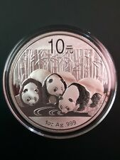 2013 China Panda 1 oz 999 Silver coin in plastic air-tite - Toning see pictures