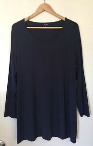 WOMENS 'SEE SAW' Size 22 NAVY BLUE LONG SLEEVE HEAVY STRETCH JERSEY TUNIC TOP