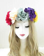 GRANDE AMARILLO fucsia lila flor de rosa cinta para cabello corona guirnalda